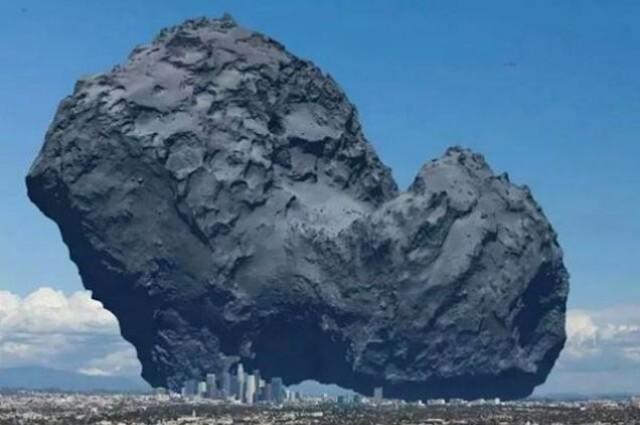 комета на фоні міста